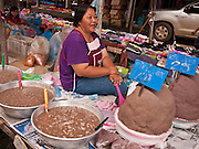 25 JUNE 2011 - SANPATONG, THAILAND: A vendor sells shrimp paste (right) and fish sauce (in tubs at left) at the Sanpatong buffalo market near Chiang Mai, Thailand, June 25. The buffalo market in Sanpatong started as a weekly gathering of farmers and traders buying and selling water buffalo, the iconic beast of burden in Southeast Asia, more than 60 years ago and has grown into one of the largest weekend markets in northern Thailand. Buffalo and cattle are still a main focus of the market, but traders also buy and sell fighting cocks, food, clothes, home brew and patent medicines.      PHOTO BY JACK KURTZ