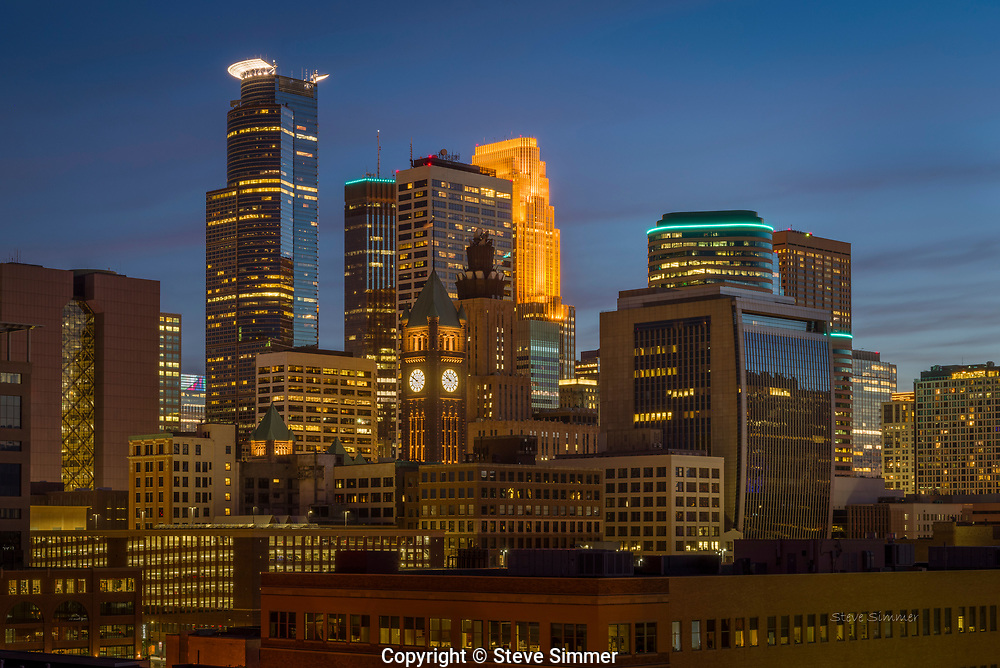 From an eigth floor rooftop, this view shows off the center of downtown Minneapolis.