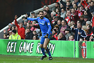 Derby County goalkeeper Scott Carson (1) during the EFL Sky Bet Championship match between Nottingham Forest and Derby County at the City Ground, Nottingham, England on 11 March 2018. Picture by Jon Hobley.