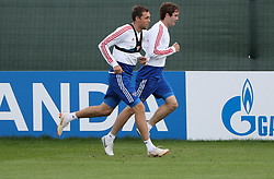 MOSCOW, July 4, 2018  Russia's Artem Dzyuba (L) and Mario Fernandes attend a training session in Moscow, Russia, on July 4, 2018. Russia will face Croatia in a quarter-final match of the 2018 FIFA World Cup on July 7. (Credit Image: © Bai Xueqi/Xinhua via ZUMA Wire)