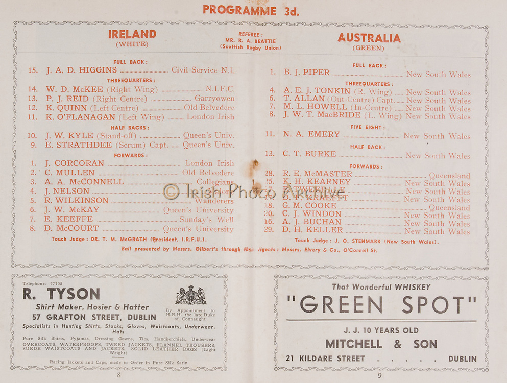 Irish Rugby Football Union, Ireland v Australia, Tour Match, Landsdowne Road, Dublin, Ireland, Saturday 6th December, 1947,.6.12.1947, 12.6.1947,..Referee- MR R A Beattie, Scottish Rugby Union, ..Score- Ireland 3 - 16 Australia, ..Irish Team, ..J A D Higgins, Wearing number 15 Irish jersey, Full Back, Civil Service N.I Rugby Football Club, Belfast, Northern Ireland, ..W D McKee, Wearing number 14 Irish jersey, Right wing, N.I.F.C, Rugby Football Club, Belfast, Northern Ireland, ..P J Reid, Wearing number 13 Irish jersey, Right Centre, Garryowen Rugby Football Club, Limerick, Ireland, ..K Quinn, Wearing number 12 Irish jersey, Left Centre, Old Belvedere Rugby Football Club, Dublin, Ireland,  ..K O'Flanagan, Wearing number 11 Irish jersey, Left Wing, London Irish Rugby Football Club, Surrey, England, ..J W Kyle, Wearing number 10 Irish jersey, Stand Off, Queens University Rugby Football Club, Belfast, Northern Ireland,..E Strathdee, Wearing number 9 Irish jersey, Captain of the Irish team, Scrum, Queens University Rugby Football Club, Belfast, Northern Ireland,..J Corcoran, Wearing number 1 Irish jersey, Forward, London Irish Rugby Football Club, Surrey, England, ..C Mullen, Wearing number 2 Irish Jersey, Forward, Old Belvedere Rugby Football Club, Dublin, Ireland, ..A A McConnell, Wearing number 3 Irish jersey, Forward, Collegians Rugby Football Club, Belfast, Northern Ireland, ..J Nelson, Wearing number 4 Irish jersey, Forward, Malone Rugby Football Club, Belfast, Northern Ireland, ..R Wilkinson, Wearing number 5 Irish jersey, Forward, Wanderers Rugby Football Club, Dublin, Ireland, ..J W McKay, Wearing number 6 Irish jersey, Forward,  Queens University Rugby Football Club, Belfast, Northern Ireland,..E Keeffe, Wearing number 7 Irish jersey, Forward, Sundays Well Rugby Football Club, Cork, Ireland, ..D McCourt, Wearing number 8 Irish jersey, Forward, Queens University Rugby Football Club, Belfast, Northern Ireland, ..Australian Team, ..B J Piper, Wearing number 1 Au