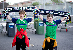 Northern Ireland fan Matthew Andrews (12) from Lisburn with his cousin Galbraith (10) before the international friendly match between Northern Ireland against New Zealand at Windsor Park, Belfast.