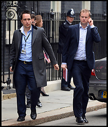 GILES KENNINGHAM (left) leaves No10 Downing after the Budget Cabinet meeting and just before The Chancellor George Osborne poses on the steps of No11 Downing street with his red budget box for the 2014 Budget, London, United Kingdom. Wednesday, 19th March 2014. Picture by Andrew Parsons / i-Images
