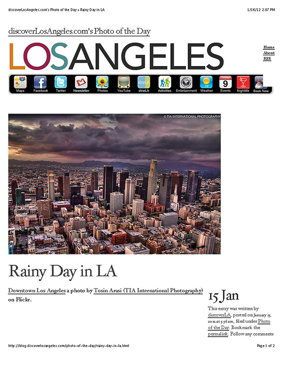 Photo of the Day, DiscoverLosAngeles.com (January 2012)