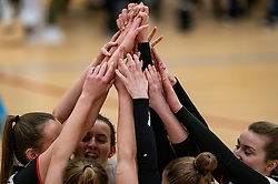 Hands of celebrate by Apollo 8 during the first league match between Laudame Financials VCN vs. Apollo 8 on February 06, 2021 in Capelle aan de IJssel.