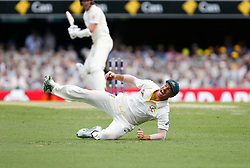 Australia's David Warner takes the catch to dismiss Jake Ball during day two of the Ashes Test match at The Gabba, Brisbane.