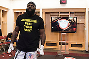 Houston, Texas - February 19, 2016: Kimbo Slice watches the fights backstage in his locker room during Bellator 149 at the Toyota Center in Houston, Texas on February 19, 2016. (Cooper Neill for ESPN)