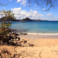 Americas, Caribbean, St. Lucia. The beach at Piegeon Island National Park.