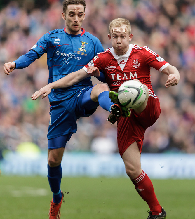 Scottish League Cup Final Aberdeen V Inverness CT at Parkhead on Sunday, 16th of March 2014, Aberdeen Scotland.<br /> Pictured: Nick Ross and Nicky Low<br /> (Photo Ross Johnston/Newsline Scotland)