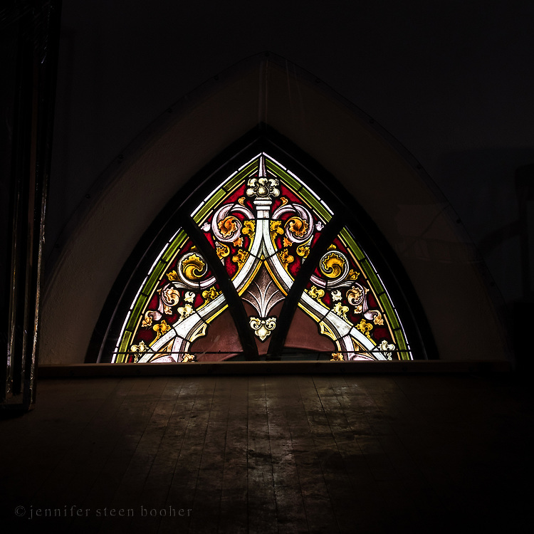 This is upper half of the window in the eastern room, seen from the organ loft.<br /> <br /> Holy Redeemer Catholic Church, Bar Harbor, Maine.