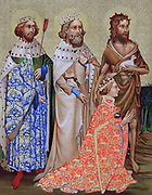 Richard II (1367-1400) King of England 1377-99, with his patron saints St Edmund (841-70) king of East Angles and of Suffolk martyred for refusing to give up Christian faith when captured by Danes, Edward the Confessor (1003-1066) king of England from 1043. Richard wears his badge, the white hart.