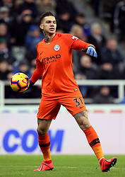 "Manchester City goalkeeper Ederson during the Premier League match at St James' Park, Newcastle. PRESS ASSOCIATION Photo. Picture date: Tuesday January 29, 2019. See PA story SOCCER Newcastle. Photo credit should read: Richard Sellers/PA Wire. RESTRICTIONS: EDITORIAL USE ONLY No use with unauthorised audio, video, data, fixture lists, club/league logos or ""live"" services. Online in-match use limited to 120 images, no video emulation. No use in betting, games or single club/league/player publications."