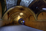 Abandoned New York City City Hall subway track. High-Definition Range (HDR) tonemapped image.