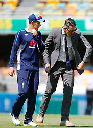 England captain Joe Root chats with former player Kevin Pietersen during day two of the Ashes Test match at The Gabba, Brisbane.