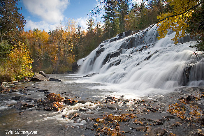 Bond Falls on the Middle branch of the Ontonagon River in autumn near Paulding UP Michigan