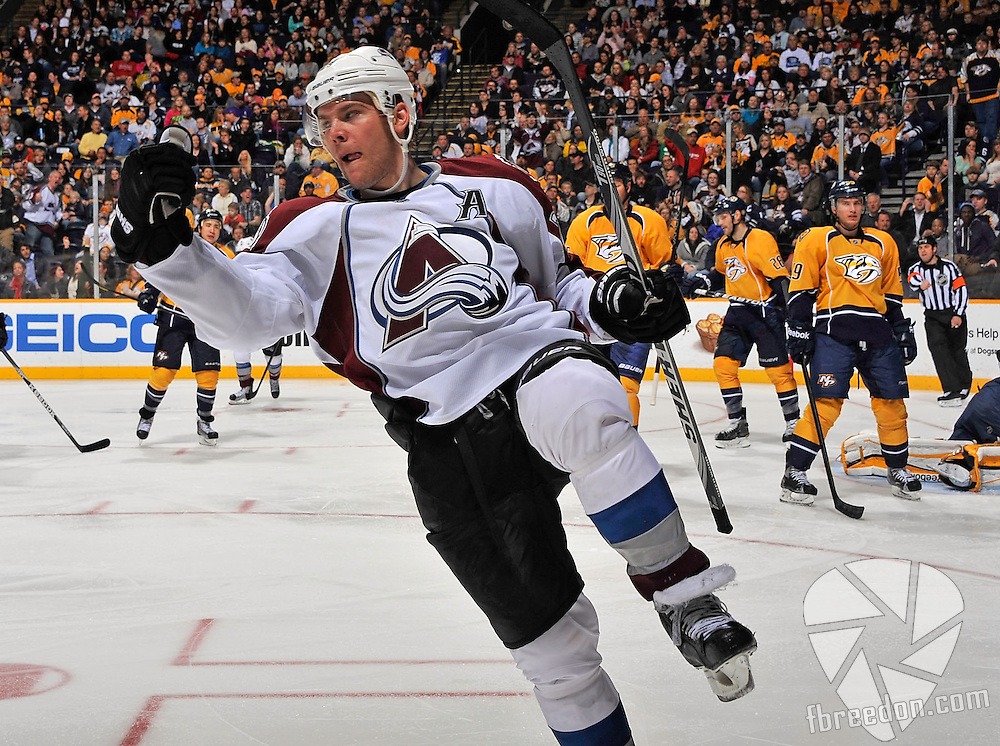 NASHVILLE, TN - MARCH 08:  Paul Stastny #26 of the Colorado Avalanche celebrates a goal against the Nashville Predators at Bridgestone Arena on March 8, 2012 in Nashville, Tennessee.  (Photo by Frederick Breedon/Getty Images) *** Local Caption *** Paul Stastny