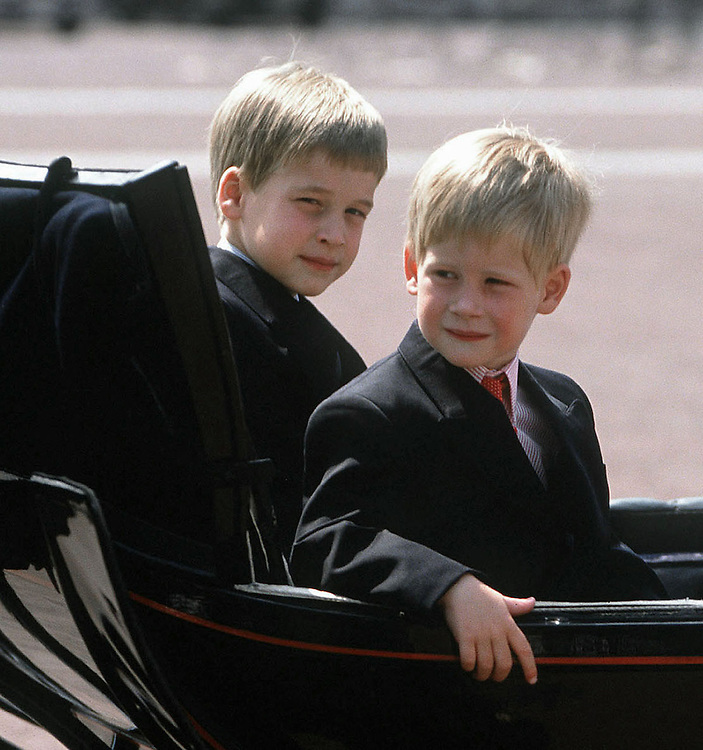 Prince William and Prince Harry seen in a carriage at the Trooping of the Colour in June 1989. London,UK.Photographed by Jayne Fincher