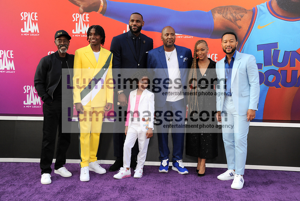 Don Cheadle, Ceyair Wright, LeBron James, Harper Leigh Alexander, Malcolm D. Lee, Sonequa Martin-Green, and John Legend at the Los Angeles premiere of 'Space Jam: A New Legacy' held at the Regal LA Live in Los Angeles on July 12, 2021.