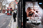 Bus stop advertising screens show slogans and the faces of coronavirus patients which are part of the latest NHS, HM Government campaign to encourage people in Britain to take the virus seriously as the national coronavirus lockdown three continues on 29th January 2021 in London, United Kingdom. Following the surge in cases over the Winter including a new UK variant of Covid-19, this nationwide lockdown advises all citizens to follow the message to stay at home, protect the NHS and save lives.