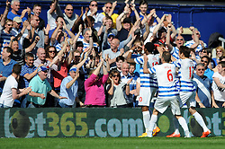 Queens Park Rangers' Leroy Fer celebrates with his team mates after scoring - Photo mandatory by-line: Dougie Allward/JMP - Mobile: 07966 386802 - 16/05/2015 - SPORT - football - London - Loftus Road - QPR v Newcastle United - Barclays Premier League