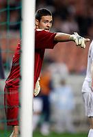 Photo: Richard Lane/Sportsbeat Images.<br />France v Scotland. UEFA European Championships Qualifying. 12/09/2007. <br />Scotland keeper, Craig Gordon organises his defence.