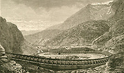 'The Savoy end of the Frejus Rail Tunnel (Mont Cenis tunnel) through the Alps, linking France and Italy.   Constructed 1857-1871. Engraving c1890.'