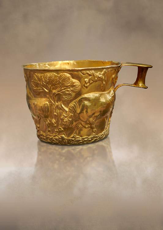 Vapheio type Mycenaean gold cup depicting a wild bull hunt , Vapheio Tholos Tomb, Lakonia, Greece. National Archaeological Museum of Athens. <br /> <br />  Two masterpieces of Creto - Mycenaean gold metalwork were excavated from a tholos tomb near Lakonia in Sparta in 1988. Made in the 15th century BC, the gold cups are heavily influenced by the Minoan style that was predominant in the Agean at the time. The bull hunt was popular with  Mycenaean  and Minoan artists and symolised power and fertility. The distinctive shape of the cup is kown as 'Vapheio type'. .<br /> <br /> If you prefer to buy from our ALAMY PHOTO LIBRARY  Collection visit : https://www.alamy.com/portfolio/paul-williams-funkystock/mycenaean-art-artefacts.html . Type -   Athens    - into the LOWER SEARCH WITHIN GALLERY box. Refine search by adding background colour, place, museum etc<br /> <br /> Visit our MYCENAEN ART PHOTO COLLECTIONS for more photos to download  as wall art prints https://funkystock.photoshelter.com/gallery-collection/Pictures-Images-of-Ancient-Mycenaean-Art-Artefacts-Archaeology-Sites/C0000xRC5WLQcbhQ