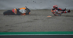 November 17, 2018 - Valencia, Spain - Marc Marquez (93) of Spain and Repsol Honda Team crash during the qualifying of the Gran Premio Motul de la Comunitat Valenciana of world championship of MotoGP at Ricardo Tormo Circuit in Valencia, Spain on 17th Nov 2018  (Credit Image: © Jose Breton/NurPhoto via ZUMA Press)