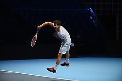 November 10, 2017 - London, England, United Kingdom - Dominic Thiem of Austria is pictured during a training session prior to the Nitto ATP World Tour Finals at O2 Arena, London on November 10, 2017. (Credit Image: © Alberto Pezzali/NurPhoto via ZUMA Press)