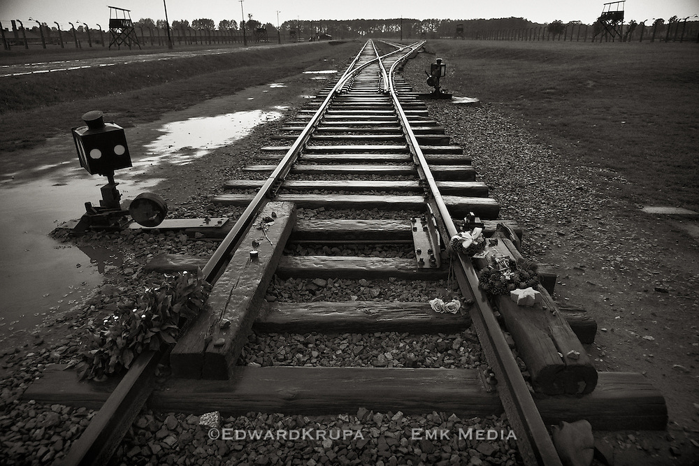 Flowers laid on the railway tracks used to transport prisoners to the World War 2 Nazi extermination camp Auschwitz 2 Birkenau, in then occupied Poland.