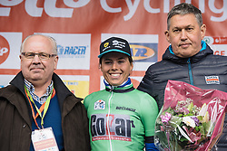 Annelies Dom earns the most agressive rider jersey - Le Samyn des Dames 2016, a 113km road race from Quaregnon to Dour, on March 2, 2016 in Hainaut, Belgium.