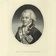 Paul I (Pavel I Petrovich) (1 October [O.S. 20 September] 1754 – 23 March 1801) was Emperor of Russia from 1796 until his assassination. Officially, he was the only son of Peter III and Catherine the Great, although Catherine hinted that he was fathered by her lover Sergei Saltykov. Paul remained overshadowed by his mother for most of his life. Copperplate engraving From the Encyclopaedia Londinensis or, Universal dictionary of arts, sciences, and literature; Volume XXII;  Edited by Wilkes, John. Published in London in 1827