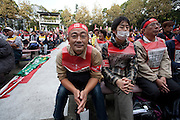 Left wing and unionists hold a rally at the open air stage in Hibiya Park, Tokyo, Japan. Sunday November 3rd  2013