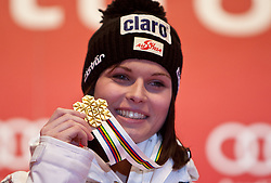 11-02-2011 SKIEN: FIS ALPINE WORLD CHAMPIONSSHIP: GARMISCH PARTENKIRCHEN<br />  Gold Medal and World Champion Anna Fenninger (AUT) during ladies Supercombi Medal Ceremony<br /> **NETHERLANDS ONLY**<br /> ©2011-WWW.FOTOHOOGENDOORN.NL/EXPA/ J. Groder