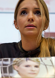 © London News Pictures. 05/11/2012. London, UK.  EUGENIA TYMOSHENKO, daughter of former Ukrainian prime minister Yulia Tymoshenko (pictured front), speaking at a press conference in London on November 05, 2012 about the  imprisonment of her mother. A Ukrainian court sentenced Yulia Tymoshenko to seven years in prison after she was found guilty of abuse of office. Photo credit: Ben Cawthra/LNP.