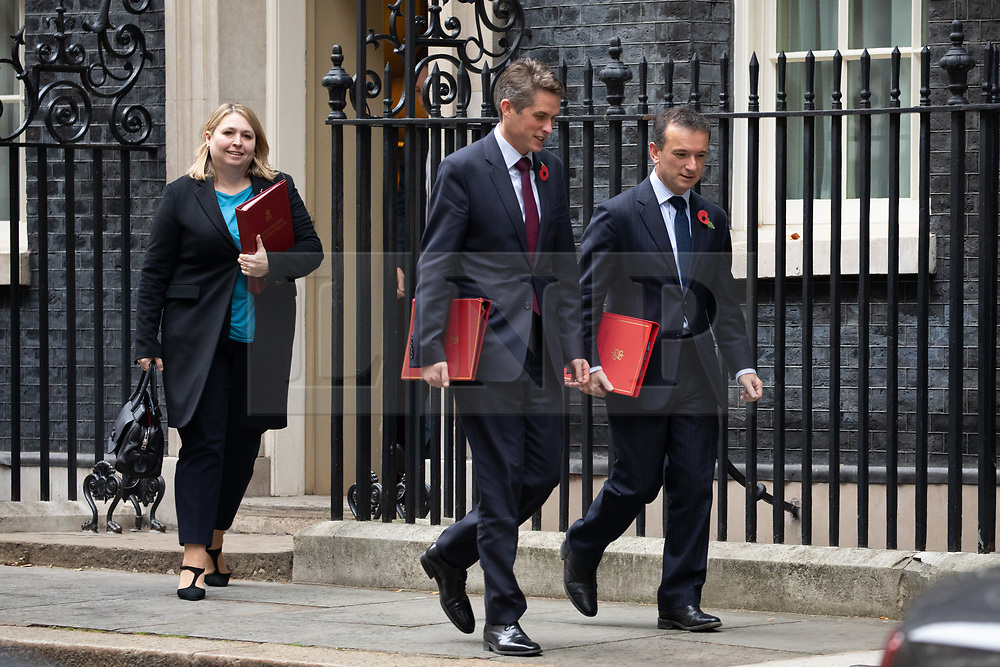 © Licensed to London News Pictures. 06/11/2018. London, UK. Secretary of State for Northern Ireland Karen Bradley, Defence Secretary Gavin Williamson and Secretary of State for Wales Alun Cairns leaving 10 Downing Street after attending a Cabinet meeting this morning. Photo credit : Tom Nicholson/LNP