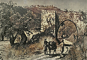 Engraving on Wood of The Hill of Samaria from Picturesque Palestine, Sinai and Egypt by Wilson, Charles William, Sir, 1836-1905; Lane-Poole, Stanley, 1854-1931 Volume 2. Published in New York by D. Appleton in 1881-1884