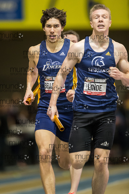 Windsor, Ontario ---2015-03-14---  Corey Bellemore of University of Windsor  competes in the 4x400m relay at the 2015 CIS Track and Field Championships in Windsor, Ontario, March 14, 2015.<br /> GEOFF ROBINS/ Mundo Sport Images