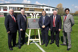 NEWPORT, WALES - Saturday, April 20, 2013: Former FAW President Phil Pritchard, First Minister Carwyn Jones, UEFA President Michel Platini, FAW President Trevor Lloyd-Hughes and Wales National team manager Chris Coleman at the opening of the FAW National Development Centre in Newport. (Pic by David Rawcliffe/Propaganda)