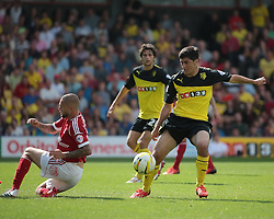 Watford's Fernando Forestieri and Nottingham Forest's Andy Reid  - Photo mandatory by-line: Nigel Pitts-Drake/JMP - Tel: Mobile: 07966 386802 25/08/2013 - SPORT - FOOTBALL -Vicarage Road Stadium - Watford -  Watford v Nottingham Forest - Sky Bet Championship
