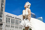 Statue of Marilyn Monroe next to the Chicago Tribune building. Chicago, Illinois, USA