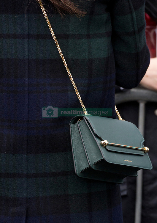 A detail of Meghan Markle's Strathberry designer handbag during her first joint visit to Scotland with his fiancee Prince Harry. Picture dated: Tuesday February 13, 2018. Photo credit should read: Isabel Infantes / EMPICS Entertainment.
