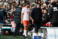 Blackpool's Colin Daniel is substituted by Blackpool's Nathan Delfouneso during the EFL Sky Bet League 1 match between Fleetwood Town and Blackpool at the Highbury Stadium, Fleetwood, England on 25 November 2017. Photo by Paul Thompson.