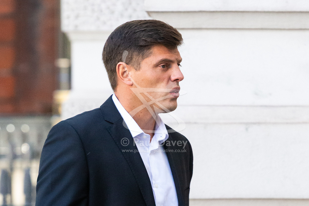 Joe Stuart, 32, of Wallington, Sutton, arrives at Westminster Magistrates Court in London where he plead guilty to assaulting a Police Community Support Officer at Euston Station. London, August 29 2019.