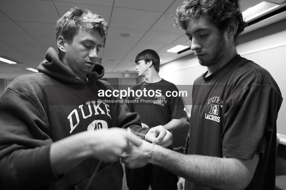 23 May 2008: Duke Blue Devils midfielder Ned Crotty (22) and attackman Matt Danowski (40) and team at their hotel do a team building exercise a day before the NCAA Semifinals in Boston, MA.