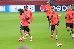 February 12, 2019 - Amsterdam, Netherlands - Marcelo and Casemiro pictured during a training before UEFA Champions League match playoff 1/8 finals game between Ajax Amsterdam and Real Madrid at Johan Cruyff Arena on February 12, 2019 in Amsterdam, Netherlands. (Credit Image: © Federico Guerra Moran/NurPhoto via ZUMA Press)