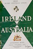 Rugby 1958-18/01 Tour Match Ireland Vs Australia