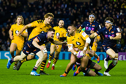 Zurabi Zhvania of Wasps is tackled - Mandatory by-line: Ewan Bootman/JMP - 06/12/2019 - RUGBY - Murrayfield - Edinburgh, England - Edinburgh Rugby v Wasps - European Rugby Challenge Cup