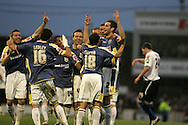 Cardiff city players dance as they celebrate the goal from Roger Johnson (12).Coca Cola championship, Cardiff City v Sheffield Wednesday at Ninian Park, Cardiff on Sat 20th Dec 2008. pic by Andrew Orchard, Andrew Orchard sports photography,