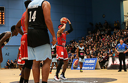 Justin Gray of Bristol Flyers with a free throw - Photo mandatory by-line: Arron Gent/JMP - 28/04/2019 - BASKETBALL - Surrey Sports Park - Guildford, England - Surrey Scorchers v Bristol Flyers - British Basketball League Championship
